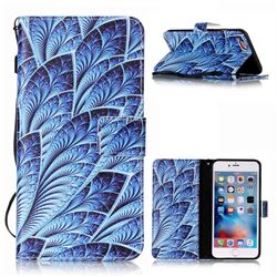 Blue Feather Leather Wallet Phone Case for iPhone 6s Plus / 6 Plus (5.5 inch)