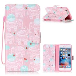 Pink Elephant Leather Wallet Phone Case for iPhone 6s Plus / 6 Plus (5.5 inch)