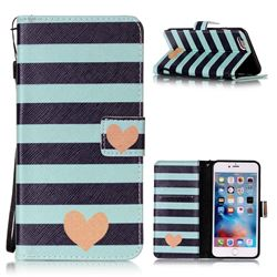 Blue Stripe Heart Leather Wallet Phone Case for iPhone 6s Plus / 6 Plus (5.5 inch)