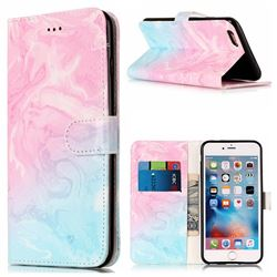 Pink Green Marble PU Leather Wallet Case for iPhone 6s Plus 6 Plus(5.5 inch)