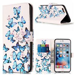 Blue Vivid Butterflies PU Leather Wallet Case for iPhone 6s Plus 6 Plus(5.5 inch)