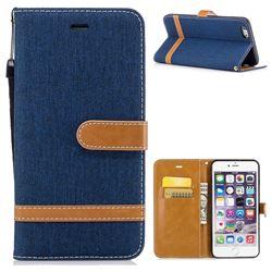 Jeans Cowboy Denim Leather Wallet Case for iPhone 6s Plus / 6 Plus 6P(5.5 inch) - Dark Blue