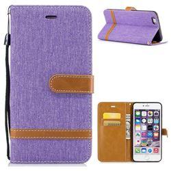 Jeans Cowboy Denim Leather Wallet Case for iPhone 6s Plus / 6 Plus 6P(5.5 inch) - Purple