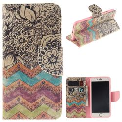 Wave Flower PU Leather Wallet Case for iPhone 6s Plus / 6 Plus 6P(5.5 inch)