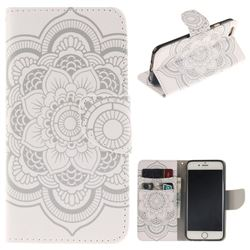 White Flowers PU Leather Wallet Case for iPhone 6s Plus / 6 Plus 6P(5.5 inch)