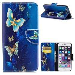 Golden Butterflies Leather Wallet Case for iPhone 6s Plus / 6 Plus 6P(5.5 inch)