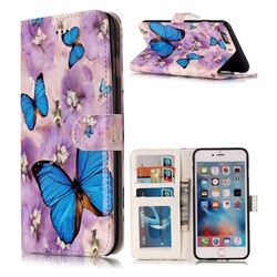Purple Flowers Butterfly 3D Relief Oil PU Leather Wallet Case for iPhone 6s Plus / 6 Plus 6P(5.5 inch)