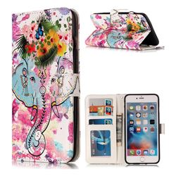 Flower Elephant 3D Relief Oil PU Leather Wallet Case for iPhone 6s Plus / 6 Plus 6P(5.5 inch)