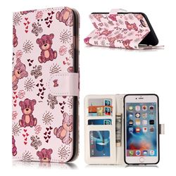 Cute Bear 3D Relief Oil PU Leather Wallet Case for iPhone 6s Plus / 6 Plus 6P(5.5 inch)
