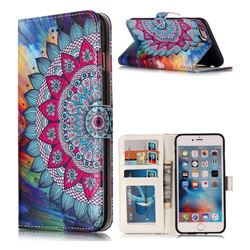 Mandala Flower 3D Relief Oil PU Leather Wallet Case for iPhone 6s Plus / 6 Plus 6P(5.5 inch)