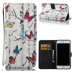 Colored Butterflies 3D Painted Leather Wallet Case for iPhone 6s Plus / 6 Plus 6P(5.5 inch)