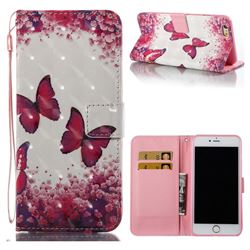 Rose Butterfly 3D Painted Leather Wallet Case for iPhone 6s Plus / 6 Plus 6P(5.5 inch)