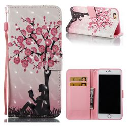 Plum Girl 3D Painted Leather Wallet Case for iPhone 6s Plus / 6 Plus 6P(5.5 inch)