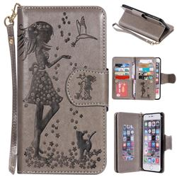 Embossing Cat Girl 9 Card Leather Wallet Case for iPhone 6s Plus / 6 Plus 6P(5.5 inch) - Gray