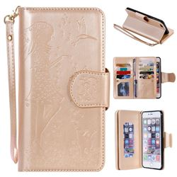 Embossing Cat Girl 9 Card Leather Wallet Case for iPhone 6s Plus / 6 Plus 6P(5.5 inch) - Gold