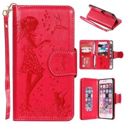 Embossing Cat Girl 9 Card Leather Wallet Case for iPhone 6s Plus / 6 Plus 6P(5.5 inch) - Red