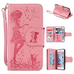 Embossing Cat Girl 9 Card Leather Wallet Case for iPhone 6s Plus / 6 Plus 6P(5.5 inch) - Pink