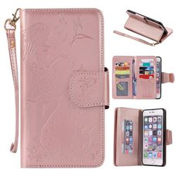 Embossing Cat Girl 9 Card Leather Wallet Case for iPhone 6s Plus / 6 Plus 6P(5.5 inch) - Rose Gold