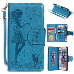 Embossing Cat Girl 9 Card Leather Wallet Case for iPhone 6s Plus / 6 Plus 6P(5.5 inch) - Blue