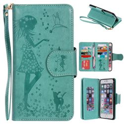 Embossing Cat Girl 9 Card Leather Wallet Case for iPhone 6s Plus / 6 Plus 6P(5.5 inch) - Green