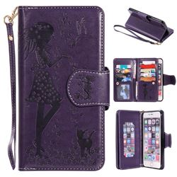 Embossing Cat Girl 9 Card Leather Wallet Case for iPhone 6s Plus / 6 Plus 6P(5.5 inch) - Purple