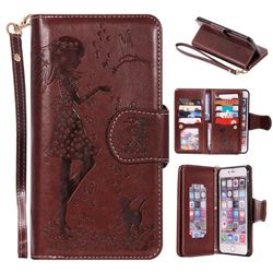 Embossing Cat Girl 9 Card Leather Wallet Case for iPhone 6s Plus / 6 Plus 6P(5.5 inch) - Brown