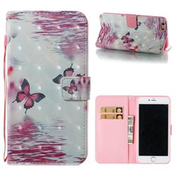 Purple Butterfly 3D Painted Leather Wallet Case for iPhone 6s Plus / 6 Plus 6P(5.5 inch)