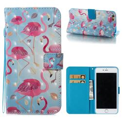 Foraging Flamingo 3D Painted Leather Wallet Case for iPhone 6s Plus / 6 Plus 6P(5.5 inch)