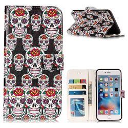 Flower Skull 3D Relief Oil PU Leather Wallet Case for iPhone 6s Plus / 6 Plus 6P(5.5 inch)