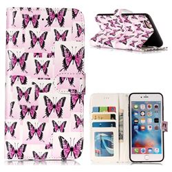Butterflies Stickers 3D Relief Oil PU Leather Wallet Case for iPhone 6s Plus / 6 Plus 6P(5.5 inch)