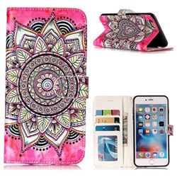 Rose Mandala 3D Relief Oil PU Leather Wallet Case for iPhone 6s Plus / 6 Plus 6P(5.5 inch)