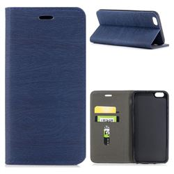 Tree Bark Pattern Automatic suction Leather Wallet Case for iPhone 6s Plus / 6 Plus 6P(5.5 inch) - Blue