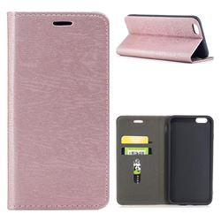 Tree Bark Pattern Automatic suction Leather Wallet Case for iPhone 6s Plus / 6 Plus 6P(5.5 inch) - Rose Gold