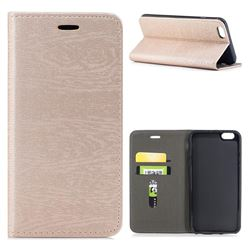 Tree Bark Pattern Automatic suction Leather Wallet Case for iPhone 6s Plus / 6 Plus 6P(5.5 inch) - Champagne Gold