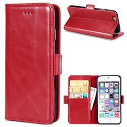 Luxury Crazy Horse PU Leather Wallet Case for iPhone 6s Plus / 6 Plus 6P(5.5 inch) - Red