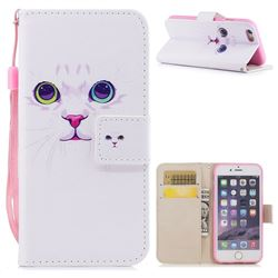 White Cat PU Leather Wallet Case for iPhone 6s Plus / 6 Plus 6P(5.5 inch)