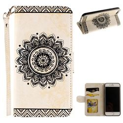 Embossed Datura Flower PU Leather Wallet Case for iPhone 6s Plus / 6 Plus 6P(5.5 inch) - White