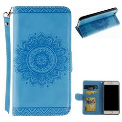 Embossed Datura Flower PU Leather Wallet Case for iPhone 6s Plus / 6 Plus 6P(5.5 inch) - Blue