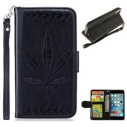 Intricate Embossing Maple Leather Wallet Case for iPhone 6s Plus / 6 Plus 6P(5.5 inch) - Black