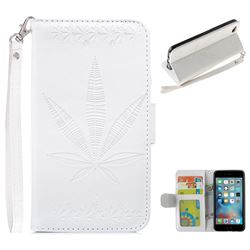 Intricate Embossing Maple Leather Wallet Case for iPhone 6s Plus / 6 Plus 6P(5.5 inch) - White