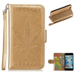 Intricate Embossing Maple Leather Wallet Case for iPhone 6s Plus / 6 Plus 6P(5.5 inch) - Champagne