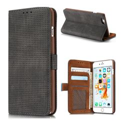 Luxury Vintage Mesh Monternet Leather Wallet Case for iPhone 6s Plus / 6 Plus 6P(5.5 inch) - Black