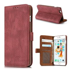 Luxury Vintage Mesh Monternet Leather Wallet Case for iPhone 6s Plus / 6 Plus 6P(5.5 inch) - Rose