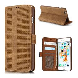 Luxury Vintage Mesh Monternet Leather Wallet Case for iPhone 6s Plus / 6 Plus 6P(5.5 inch) - Brown