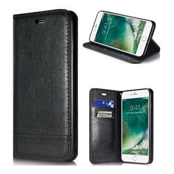 Magnetic Suck Stitching Slim Leather Wallet Case for iPhone 6s Plus / 6 Plus 6P(5.5 inch) - Black