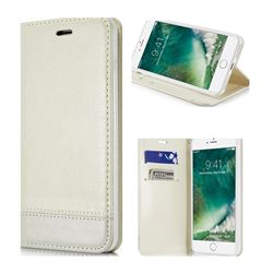 Magnetic Suck Stitching Slim Leather Wallet Case for iPhone 6s Plus / 6 Plus 6P(5.5 inch) - White