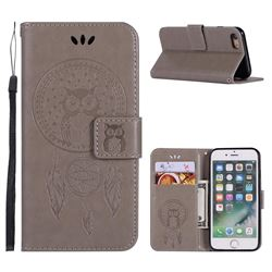 Intricate Embossing Owl Campanula Leather Wallet Case for iPhone 6s Plus / 6 Plus 6P(5.5 inch) - Grey