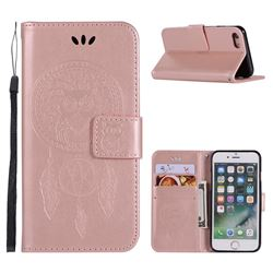 Intricate Embossing Owl Campanula Leather Wallet Case for iPhone 6s Plus / 6 Plus 6P(5.5 inch) - Rose Gold