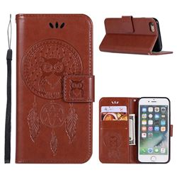 Intricate Embossing Owl Campanula Leather Wallet Case for iPhone 6s Plus / 6 Plus 6P(5.5 inch) - Brown