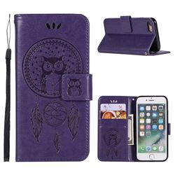 Intricate Embossing Owl Campanula Leather Wallet Case for iPhone 6s Plus / 6 Plus 6P(5.5 inch) - Purple